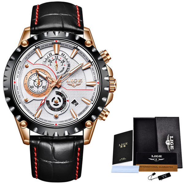 Top Brand Luxury Quartz Gold Watch Men Casual Leather Military Waterproof Sport Wrist Watch