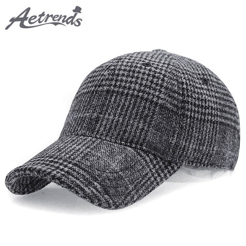 [AETRENDS] 2018 New Winter Plaid Woolen Baseball Cap Men Women Cotton Baseball Hats