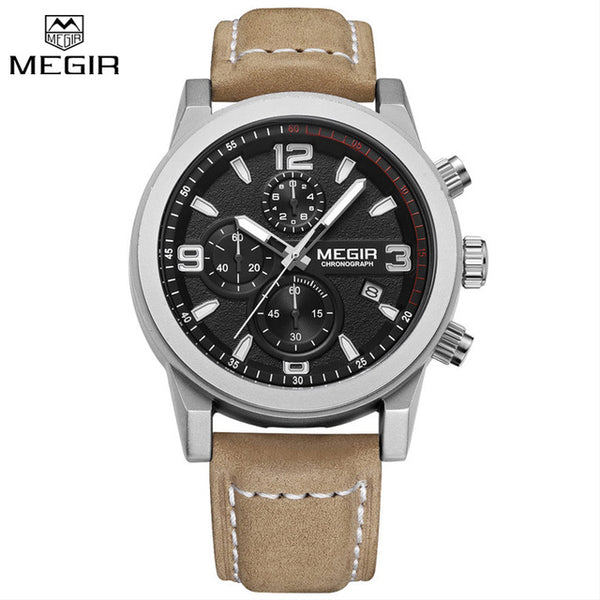 Megir New Leather Strap Military Chronograph