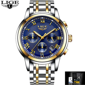 Luxury Brand LIGE Chronograph Men Sports Watches Waterproof Full Steel Quartz Men's Watch