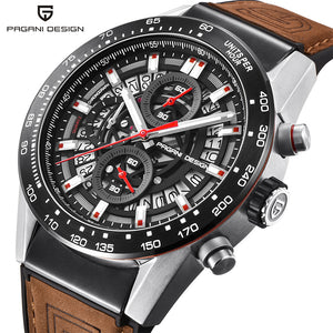 PAGANI DESIGN Fashion Skeleton Sport Chronograph Leather Strap Quartz Mens Watches Top Brand Luxury Waterproof Clock