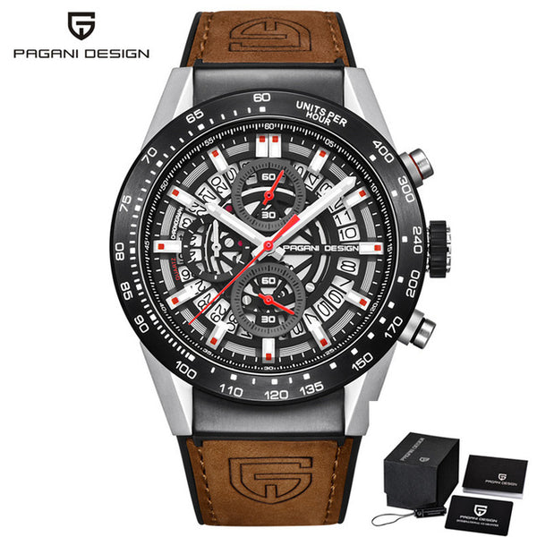 PAGANI DESIGN Fashion Leather Strap Quartz Watch