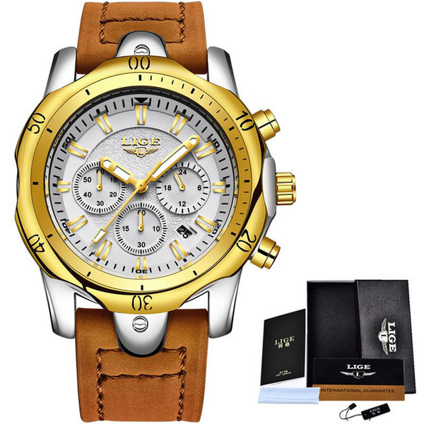 2018 LIGE Brand Luxury Gold Quartz Watch Men Casual Leather Military Waterproof Sport Watch