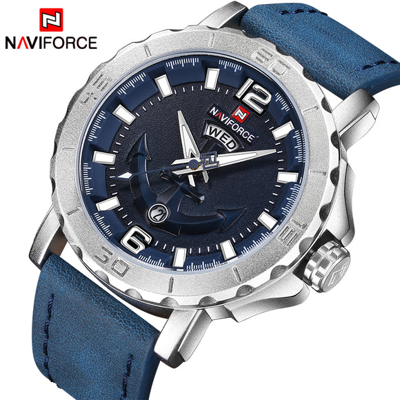 Naviforce Leather Strap Sports Watches Men Quartz Clock Sports Military Wrist Watch