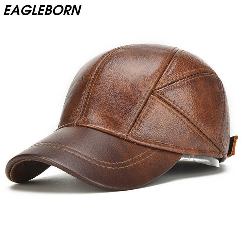EAGLEBORN 2018 Genuine Leather Baseball Cap For Man Male with Ear Flaps