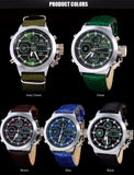 Men sports watches Dual display Quartz Analog Digital LED leather waterproof  wristwatches