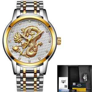 Top Brand Luxury Quartz Watch Men Casual Waterproof Gold Dragon Full Steel LIGE Sport Wrist Watch