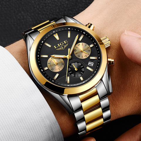 2018 New LIGE Top Brand Luxury Full Steel Business Quartz Watch Men Military Sport Waterproof Clock