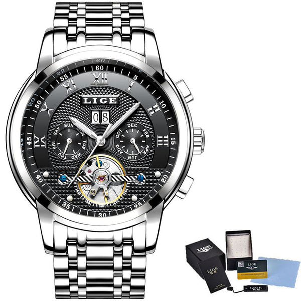 LIGE Top Brand Business Fashion Automatic Mechanical Watch
