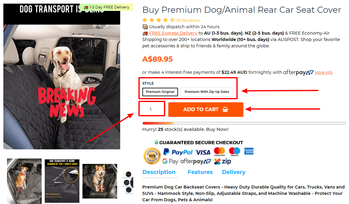 Buy Premium Dog Car Seat Cover - Travel Pets