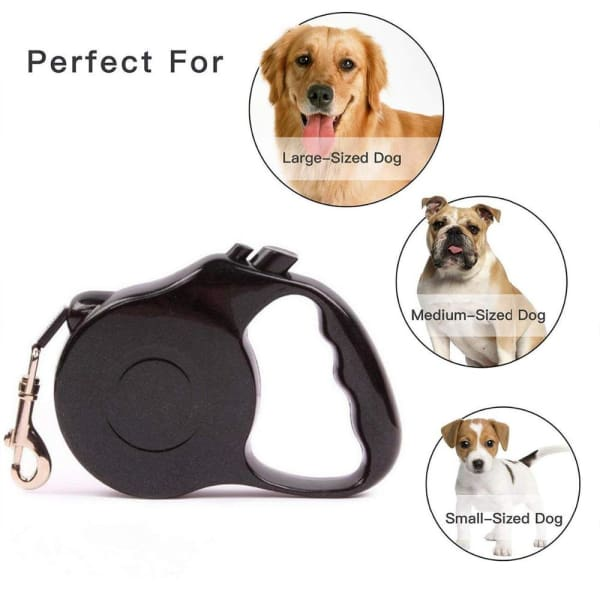 $22.50 - 3M AUTOMATIC RETRACTABLE DOG LEASH - PET DOGS WALKING RUNNING LEAD BLACK 0.4KG (1) TRAVEL PETS