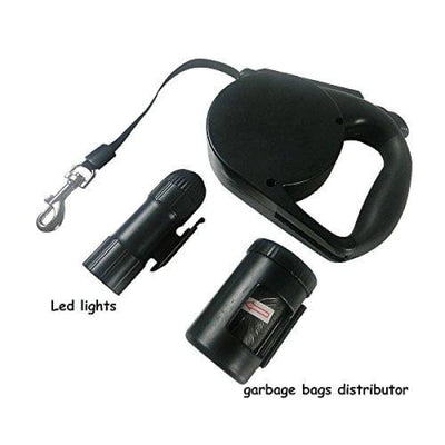 $39.95 - 4.5M RETRACTABLE DOG LEAD WITH TORCH & POOP BAG DISPENSER (8) TRAVEL PETS