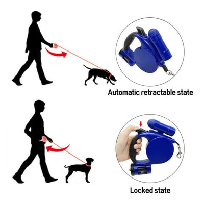 $39.95 - 4.5M RETRACTABLE DOG LEAD WITH TORCH & POOP BAG DISPENSER (9) TRAVEL PETS