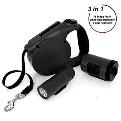 $39.95 - 4.5M RETRACTABLE DOG LEAD WITH TORCH & POOP BAG DISPENSER (10) TRAVEL PETS