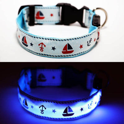 Light Up Dog Collar & Lead Combo - Nautical Design - Night Safety