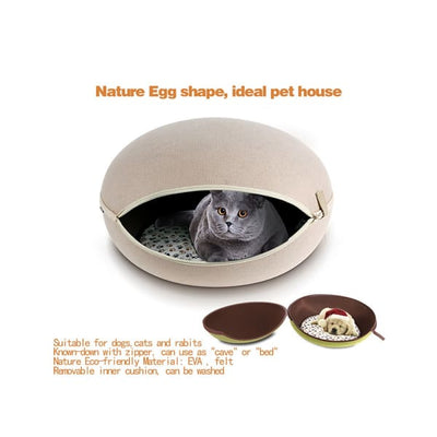 $79.00 - EGG CAT BED CAVE BEIGE 2KG (7) TRAVEL PETS