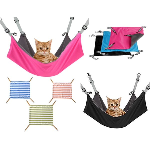 $34.95 - COMFORTABLE SOFT COZY HANGING HAMMOCK FOR SMALL CATS BLACK 0.25KG (1) TRAVEL PETS