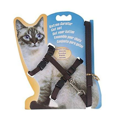 $14.50 - ADJUSTABLE CAT LEASH WITH HARNESS SET (NO ESCAPE) DARK CHOCOLATE / REGULAR 0.25KG (1) TRAVEL PETS