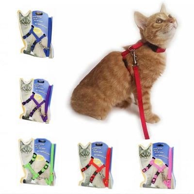 $14.50 - ADJUSTABLE CAT LEASH WITH HARNESS SET (NO ESCAPE) (29) TRAVEL PETS