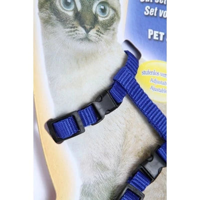 $14.50 - ADJUSTABLE CAT LEASH WITH HARNESS SET (NO ESCAPE) (11) TRAVEL PETS