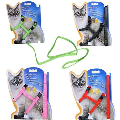 $14.50 - ADJUSTABLE CAT LEASH WITH HARNESS SET (NO ESCAPE) (5) TRAVEL PETS