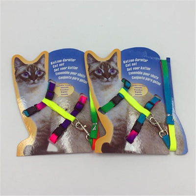 $14.50 - ADJUSTABLE CAT LEASH WITH HARNESS SET (NO ESCAPE) MULTI COLOURED / REGULAR 0.25KG (24) TRAVEL PETS