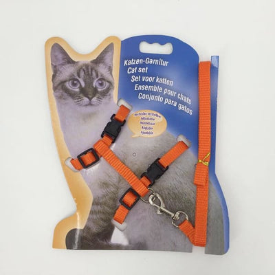 $14.50 - ADJUSTABLE CAT LEASH WITH HARNESS SET (NO ESCAPE) ORANGE / REGULAR 0.25KG (28) TRAVEL PETS