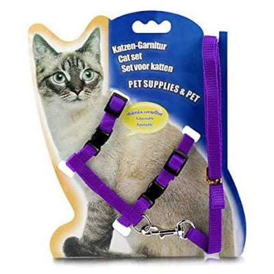 $14.50 - ADJUSTABLE CAT LEASH WITH HARNESS SET (NO ESCAPE) PURPLE / REGULAR 0.25KG (27) TRAVEL PETS