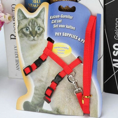 $14.50 - ADJUSTABLE CAT LEASH WITH HARNESS SET (NO ESCAPE) RED / REGULAR 0.25KG (3) TRAVEL PETS