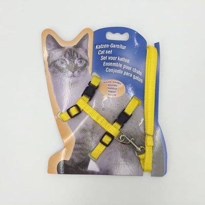 $14.50 - ADJUSTABLE CAT LEASH WITH HARNESS SET (NO ESCAPE) YELLOW / REGULAR 0.25KG (26) TRAVEL PETS