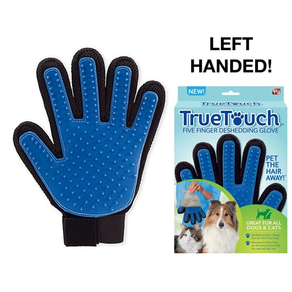 $18.50 - LEFT-HANDED TRUE TOUCH 5 FINGER DESHEDDING GLOVES 0.25KG (1) TRAVEL PETS