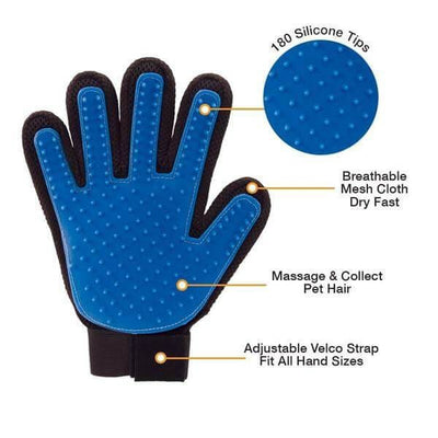 $18.50 - TRUE TOUCH 5-FINGER DESHEDDING GLOVE (AS SEEN ON TV) (7) TRAVEL PETS