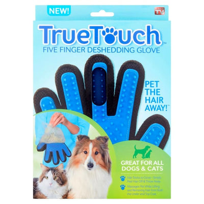 $18.50 - TRUE TOUCH 5-FINGER DESHEDDING GLOVE (AS SEEN ON TV) (2) TRAVEL PETS