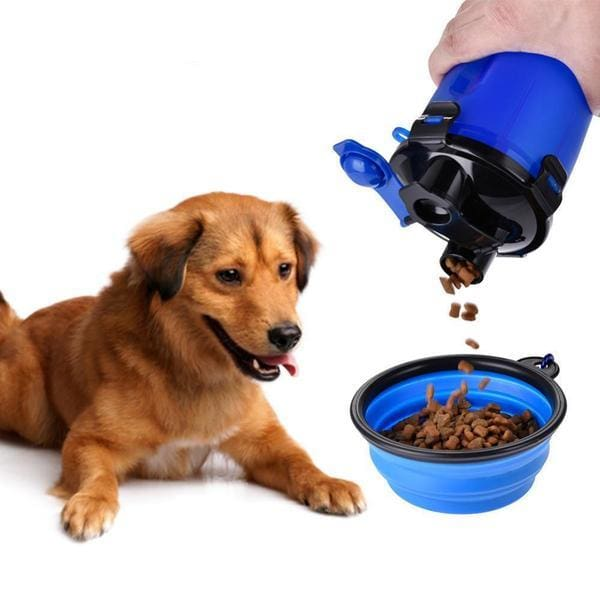 $27.50 - 750ML DUAL COMPARTMENT PET TRAVEL FOOD/WATER BOTTLE BLUE 0.5KG (1) TRAVEL PETS