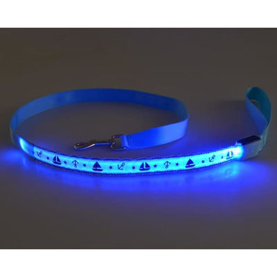$31.00 - NIGHT SAFETY LUMINOUS DOG COLLAR WITH LEAD COMBO - NAUTICAL DESIGN (7) TRAVEL PETS