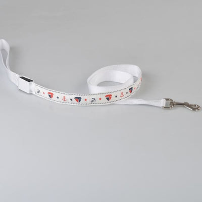 $31.00 - NIGHT SAFETY LUMINOUS DOG COLLAR WITH LEAD COMBO - NAUTICAL DESIGN (5) TRAVEL PETS
