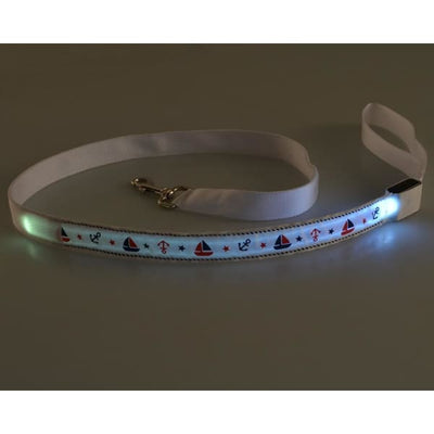 $31.00 - NIGHT SAFETY LUMINOUS DOG COLLAR WITH LEAD COMBO - NAUTICAL DESIGN (8) TRAVEL PETS