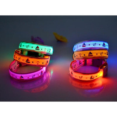 $31.00 - NIGHT SAFETY LUMINOUS DOG COLLAR WITH LEAD COMBO - NAUTICAL DESIGN (9) TRAVEL PETS