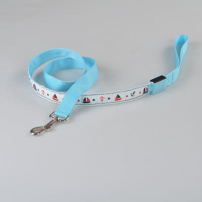 $31.00 - NIGHT SAFETY LUMINOUS DOG COLLAR WITH LEAD COMBO - NAUTICAL DESIGN (6) TRAVEL PETS