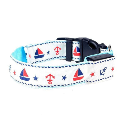 $33.75 - NIGHT SAFETY LUMINOUS DOG COLLAR WITH LEAD COMBO - NAUTICAL DESIGN LARGE / BLUE 0.4KG (3) TRAVEL PETS