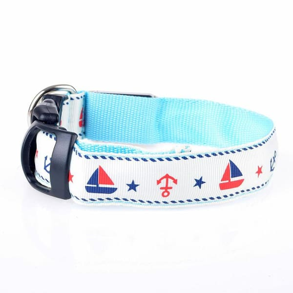 $31.00 - NIGHT SAFETY LUMINOUS DOG COLLAR WITH LEAD COMBO - NAUTICAL DESIGN SMALL / BLUE 0.4KG (1) TRAVEL PETS