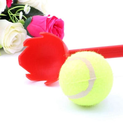 $16.50 - DOG TENNIS BALL TOY LAUNCHER WITH FREE (1) TENNIS BALL RED 0.8KG (6) TRAVEL PETS