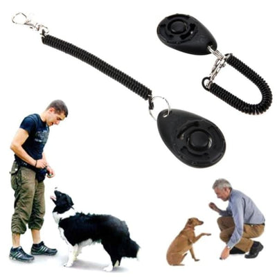 $19.99 - PET DOG TRAINING CLICKER PET TRAINER TOOL KEY CHAIN (4) TRAVEL PETS