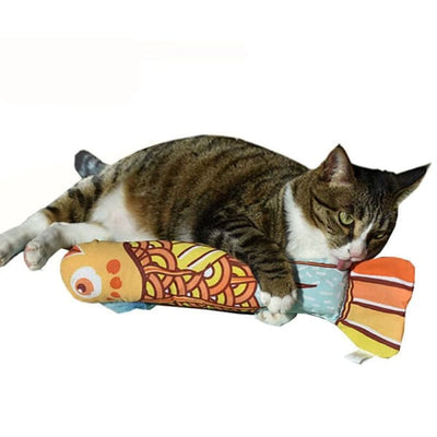 $27.50 - CATNIP GIANT FISH CAT TOY ORANGE/BLUE 0.5KG (5) TRAVEL PETS