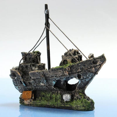 $34.95 - SUNKEN PIRATE SHIP FISH TANK ORNAMENT 0.25KG (1) TRAVEL PETS