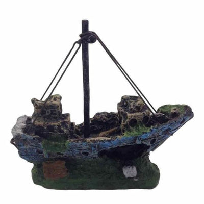 $34.95 - SUNKEN PIRATE SHIP FISH TANK ORNAMENT (7) TRAVEL PETS