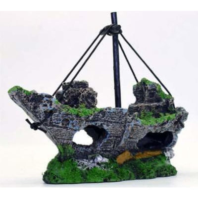 $34.95 - SUNKEN PIRATE SHIP FISH TANK ORNAMENT (8) TRAVEL PETS