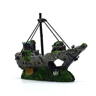 $34.95 - SUNKEN PIRATE SHIP FISH TANK ORNAMENT (3) TRAVEL PETS