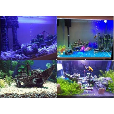 $34.95 - SUNKEN PIRATE SHIP FISH TANK ORNAMENT (2) TRAVEL PETS