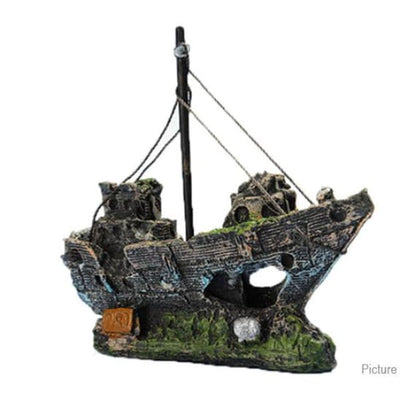 $34.95 - SUNKEN PIRATE SHIP FISH TANK ORNAMENT (4) TRAVEL PETS